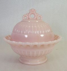 Fostoria Rare LABELED Randolph Pink Milk Glass Covered Preserve Candy Dish MINT