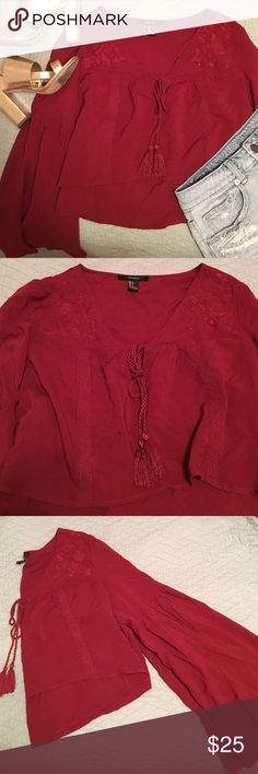 Embroidered Hippy Crop Top Beautiful rust color, never been worn! Forever 21 Tops Blouses