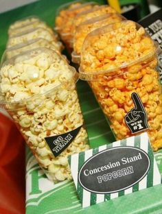 Popcorn cups at a football birthday party! See more party planning ideas at… Sports Theme Birthday, Football Birthday, Football Food, 2nd Birthday Parties, Kids Football Parties, Birthday Ideas, 10th Birthday, Bday Party Ideas, Football Party Favors