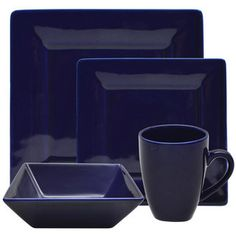 10 Strawberry Street Vivo 16-piece Cobalt Square Dinner Set | Overstock.com Shopping - The Best Deals on Casual Dinnerware