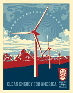 Renewable energy is as much a national security issue as an environmental one. Shepard Fairey artwork.