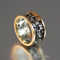 Art Nouveau inspired FLORAL BAND in 14K gold by WingedLion on Etsy https://www.etsy.com/listing/80477420/art-nouveau-inspired-floral-band-in-14k