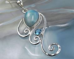swirly spiral necklace with larimar and blue topaz--Larimar has it's own special beauty!