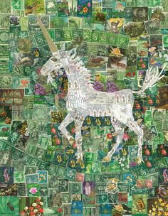 Unicorn stamp collage www.rachelmarkwick.co.uk