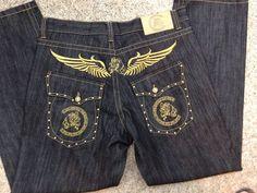 Cezer Jeans Mens Dark Wash & Gold Denim Size 36 x 33.5 Style Urban Wear Hip Hop #Cezer #Relaxed