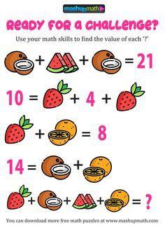 Free Math Puzzles for All Ages! Logic Math, Math Quizzes, Math Problem Solving, Maths Puzzles, Math Activities, Hard Puzzles, Math Games, Math Genius, Math Talk