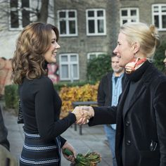Mary looking great as she visits the school which is located in Copenhagen.