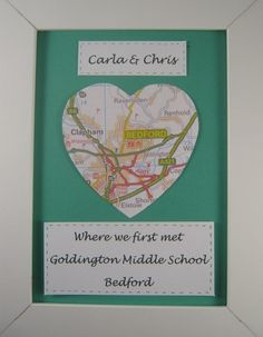 Ideal to celebrate Valentine's Day – also suitable for longterm friends who met at school or uni Choose a location in the UK, decide on a background colour You can have it personalised with just names, or add a particular location – it will be made specially for you! 7″ x 5″ unframed piece will …