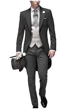 90512530fec JYDress Mens Tail Tuxedo 3 Pieces Tailcoat Suit Gray Groom Tuxedos Wedding  Suit at Amazon Men s Clothing store