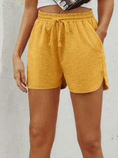Drawstring Waist Dolphin Hem Shorts | SHEIN USA Fast Fashion, Womens Fashion, Lounge Shorts, Mustard Yellow, Drawstring Waist, Dolphins, Casual Shorts, Cool Outfits, Gym Shorts Womens