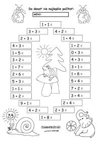 Pracovné listy z matematiky - prváci - Nasedeticky.sk Math Charts, Home Schooling, Cute Drawings, Diy And Crafts, Diagram, Activities, Crafts For Kids, Note Cards, Slovak Language