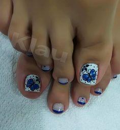 Toe Nail Designs, Simple Nail Designs, Beautiful Nail Art, Blue Nails, Simple Nails, Manicure And Pedicure, Finger, Toenails, Beauty