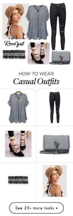 """""""Stand Up Collar Plaid Loose Fitting Blouse"""" by sahelirima on Polyvore"""
