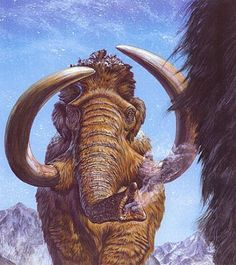 Woolly Mammoths migrating. Artwork by Mark Hallett.