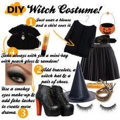 DIY Witch Costume- simple but effective! can probably make this work out of what I already have... :-)