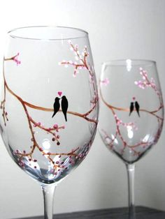 Hand Painted Wine Glasses Birds on Tree Branch by PrettyMyDrink.Com, $60.00......These would match my website!
