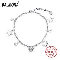 New Arrival 100% real 925 sterling silver jewelry cute star bracelets fashion jewelry for women Christmas Gifts Bijoux SVH006