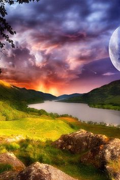 ENLARGE for details: so LOVELY it's a MOST POPULAR RE-PIN - https://www.pinterest.com/DianaDeeOsborne/ddo-most-popular-re-pins/ - Artwork of quiet river, orange sunset, supermoon... a Beautiful place of peace... Rolling low green hills, gentle  mountains under blue and pink purple sunset skies. Pinned by #cSw:) - https://www.pinterest.com/claxtonw/peace-giving/ - PEACE GIVING #Pinterest board. Photo credit: HDI phone wallpapers US