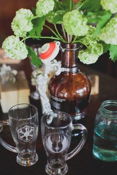 If we do the rehearsal dinner at a brewery - I like the flowers in the growler idea!