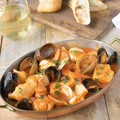 Brodetto di pesce is a delicious selection of seafood in a flavorful tomato broth.