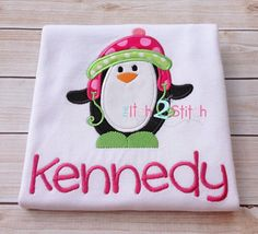 """Penguin Winter Applique Design For Machine Embroidery INSTANT DOWNLOAD now available, shown with our """"Cinnamon Cake""""  font (NOT included)"""