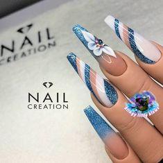 Cute Acrylic Nail Designs, Cute Acrylic Nails, Classy Nails, Trendy Nails, Blue Glitter Nails, Geometric Nail, Luxury Nails, Nail Bar, Nail Inspo