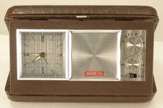 Shibuya Brand Travel Alarm Clock and AM Radio Imitation Alligator Case Vintage