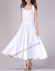 White/Black/Blue linen dress maxi dress by originalstyleshop, $69.00