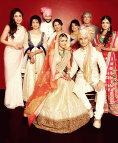 Here is a photograph of the Bollywood Royals Saif Ali Khan, Kareena Kapoor Khan, Sharmila Tagore, Soha Ali Khan and Saba Ali Khan along with the newest addition to the family Kunal Kemmu. Soha tied the knot with Kunal in an intimate ceremony at their Khar residence in Mumbai on January 25. The Pataudis are posing here with the Kemmus.