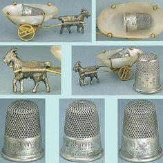 Tiny Antique Brass Goat w/Cart Holds Child's Thimble; Circa 1870