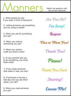 Manners - good for elementary kids social/communication skills