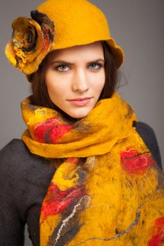 Stylish yellow hat with flower hand felted merino wool FREE SHIPPING WORLDWIDE!