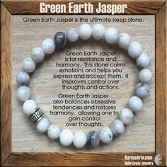 Spiritually Green Earth Jasper is for resistance and harmony.  Psychologically this stone calms emotions and helps you express and accept them.  Mentally green earth jasper improves control over thoughts and actions.   TRUTH: Green Earth Jasper Yoga Mala Bracelet