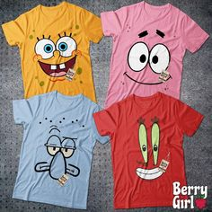 Sponge Bob Friends Costume Halloween Group Matching Outfit Cartoon Character Costume Cosplay T-Shirt Halloween iDeas ? Creative Halloween Costumes, Halloween Shirt, Group Halloween Costumes, Teacher Costumes, Halloween Ideas, Halloween Party, Spongebob Birthday Party, Friend Costumes, Sponge Bob