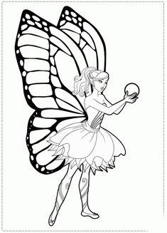 Desene de colorat Barbie Mariposa Si Sfera Magica - Planse de colorat cu DESENE DE COLORAT CU BARBIE MARIPOSA
