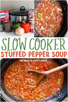 Stuffed Pepper Soup Crockpot, Slow Cooker Stuffed Peppers, Crock Pot Soup, Slow Cooker Soup, Slow Cooker Recipes, Soup Recipes, Dinner Recipes, Cooking Recipes, Healthy Recipes