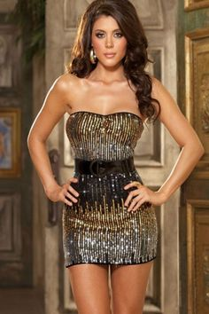New Sexy Unique Ombre Sequin Strapless Dress Belt & Thon One Size Fits Most