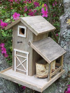 Rustic Barn Birdhouse With Horse Trailer In Shed