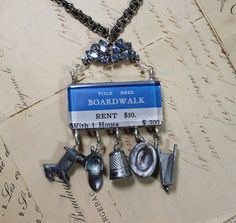 It's Your Move- Vintage Monopoly Piece Necklace- Repurposed Upcycled Assemblage- Boardwalk