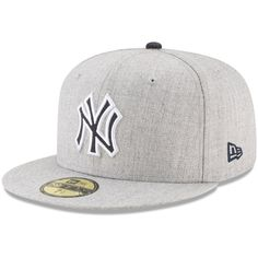 Men's New Era Heathered Gray New York Yankees Heathered Hype Fitted Hat, Size: 7 Yankees Gear, New York Yankees, Skate Style, Baseball Tees, New Era Cap, Cool Hats, Sports Fan Shop, Look Cool, Mlb