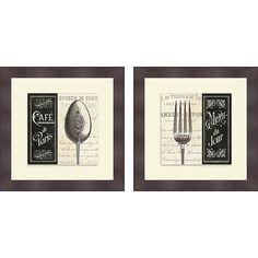 Pela Studio 'French Menu I & II' Framed Print, Brown