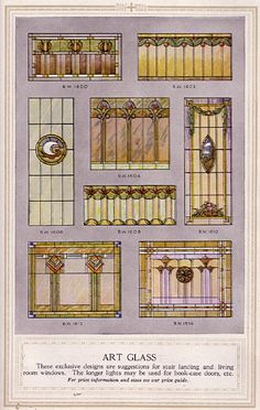 Stained glass examples from a Minneapolis millwork catalog. I have an old window pane from Venice, CA that looks like the one in the top middle. Stained Glass Designs, Stained Glass Projects, Stained Glass Patterns, Stained Glass Art, Mosaic Glass, Art Nouveau, Art Deco, Old Window Panes, Leaded Glass Windows