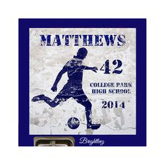 Personalized Soccer Magnetic School Locker Sign with Full Magnetic Backing