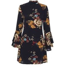 Navy Floral Print Crepe Frill Sleeve Dress (115 PEN) ❤ liked on Polyvore featuring dresses, flower printed dress, flounce sleeve dress, floral printed dress, floral design dresses and navy blue dress