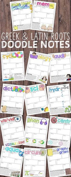 Greek and Latin Roots Doodle Notes present your students with a meaningful and engaging activity that they will love. Doodle notetaking activates verbal and visual modalities to capture concepts.