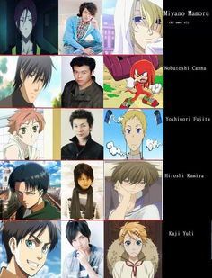 Japanese voice actors, Black Butler, Junjo Romantica, Sekaiichi Hatsukoi, Aot, and two I haven't seen.