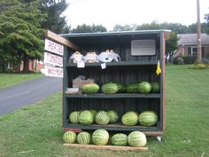 roadside farm stands using the honor system...I like the shelf idea with the wheels on it as you see here.