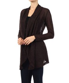 This Brown Sheer Textured Open Cardigan is perfect! #zulilyfinds