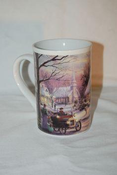 Thomas Kinkade Mug Memories of Christmas Coffee Cup 2001 #ThomasKincade