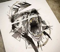 Photo - Perfect 3 colors abstract drawing art of Gorilla head motive done by tattoo artist Caio Miguel Cool Sketches, Tattoo Sketches, Tattoo Drawings, Drawing Sketches, Art Drawings, Drawing Art, Drawing Ideas, Geometric Gorilla Tattoo, Tattoo Gorilla